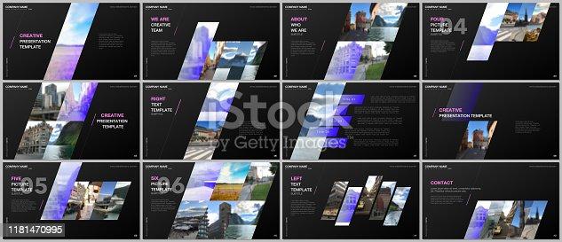 Minimal presentations design, portfolio vector templates with colorful gradient geometric background. Multipurpose template for presentation slide, flyer leaflet, brochure cover, report, marketing.