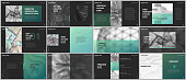 Minimal presentations design, portfolio vector templates with elements on black background. Multipurpose template for presentation slide, flyer leaflet, brochure cover, report, marketing, advertising