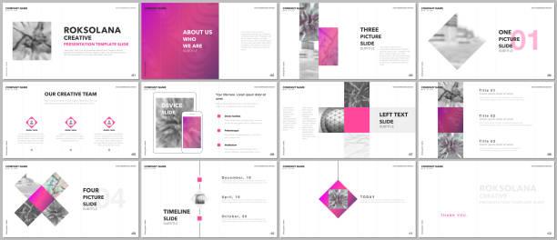 minimale präsentationen entwerfen, portfolio-vektor-vorlagen mit elementen auf weißem hintergrund. mehrzweck-vorlage für präsentationsfolie, flyer broschüre, broschüre zu decken, bericht, marketing, werbung. - mappen stock-grafiken, -clipart, -cartoons und -symbole