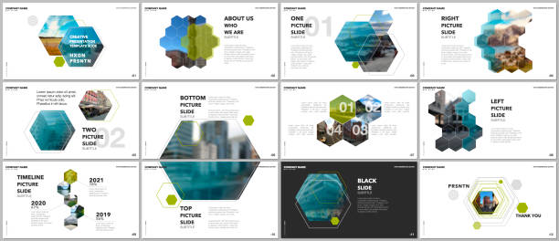 Minimal presentations design, portfolio vector templates with hexagons and hexagonal elements. Multipurpose template for presentation slide, flyer leaflet, brochure cover, report, advertising. Minimal presentations design, portfolio vector templates with hexagons and hexagonal elements. Multipurpose template for presentation slide, flyer leaflet, brochure cover, report, marketing. hexagon stock illustrations