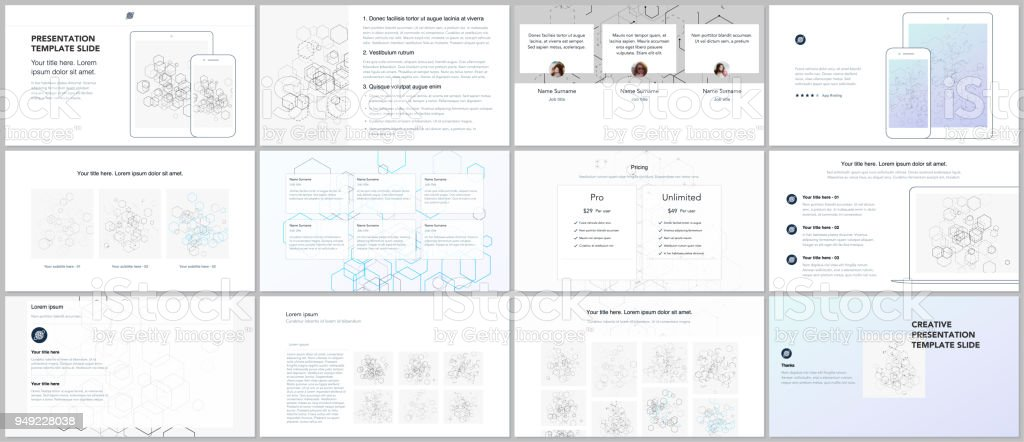 Minimal Presentations Portfolio Templates Blue Color Elements On