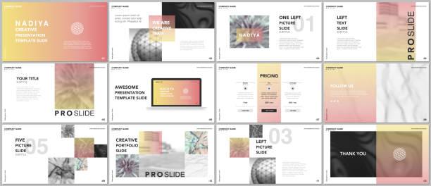 minimal presentations, portfolio templates. blue elements on a white background. brochure cover vector design. presentation slides for flyer, leaflet, brochure, report, marketing, advertising, banner. - website templates stock illustrations