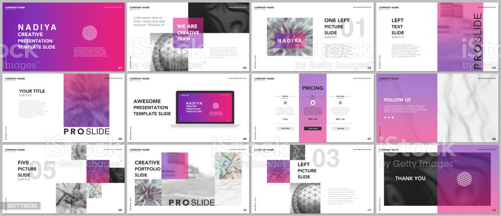 Minimal presentations, portfolio templates. Pink elements on a white background. Brochure cover vector design. Presentation slides for flyer, leaflet, brochure, report, marketing, advertising, banner - illustrazione arte vettoriale