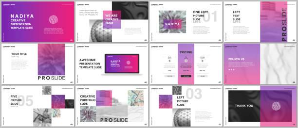 minimale präsentationen, portfolio-vorlagen. rosa elemente auf einem weißen hintergrund. broschüre-cover-vektor-design. präsentationsfolien für flyer, prospekt, broschüre, bericht, marketing, werbung, banner - mappen stock-grafiken, -clipart, -cartoons und -symbole