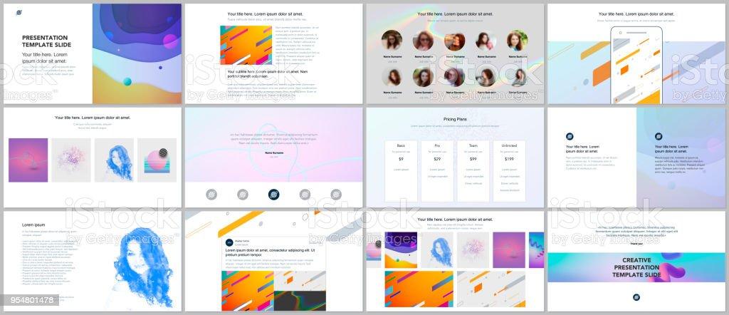 Minimal presentations, portfolio templates. Simple elements on white background. Brochure cover vector design. Presentation slides for flyer, leaflet, brochure, report, marketing, advertising. - illustrazione arte vettoriale