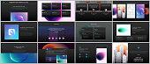 Minimal presentations, portfolio templates with colorful gradient blurs and geometric backgrounds. Brochure cover vector design. Presentation slides for flyer, leaflet, brochure, report, advertising
