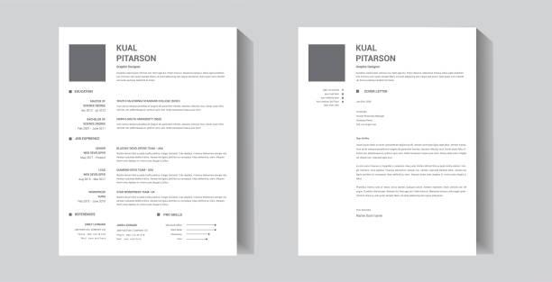 Minimal professional resume template design and cover letter - vector template Minimal professional resume template design and cover letter - vector template resume templates stock illustrations