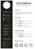 Clean curriculum vitae, Resume Template with minimal design, black icons,
