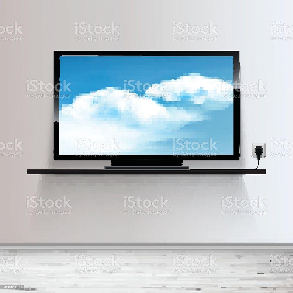Minimal Room with Tv - Realistic Vector illustration. vector art illustration