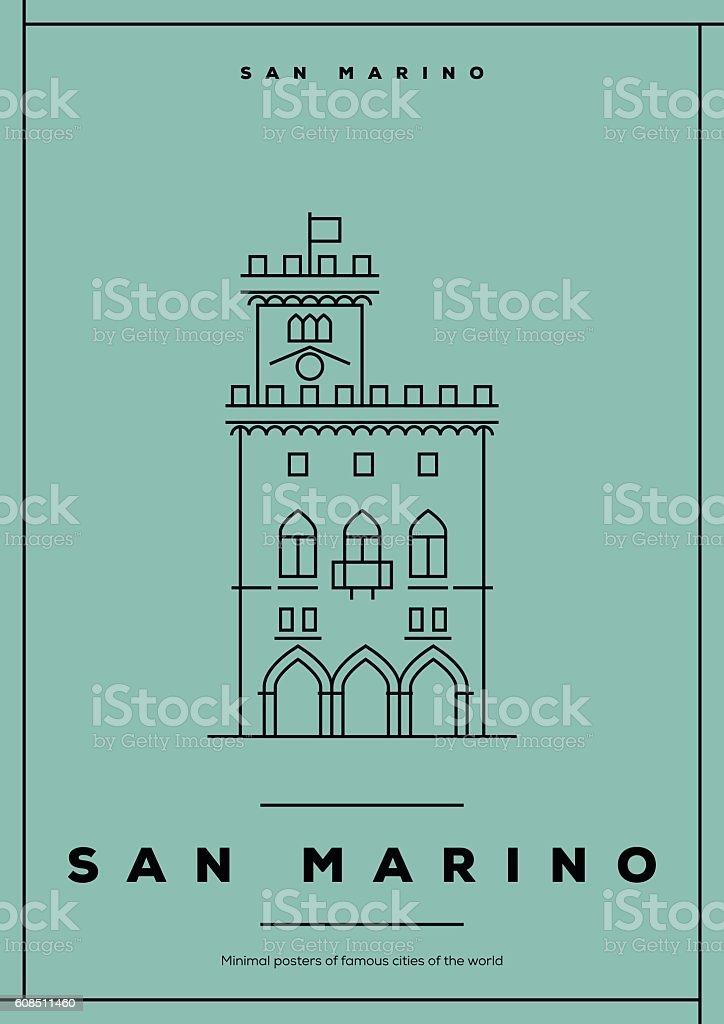 Minimal San Marino City Poster Design vector art illustration