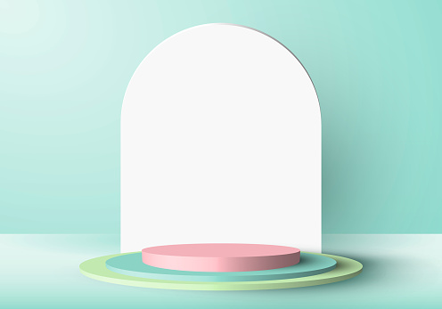 3D minimal scene green and pink cylinder podium in green mint background with rounded rectangle backdrop