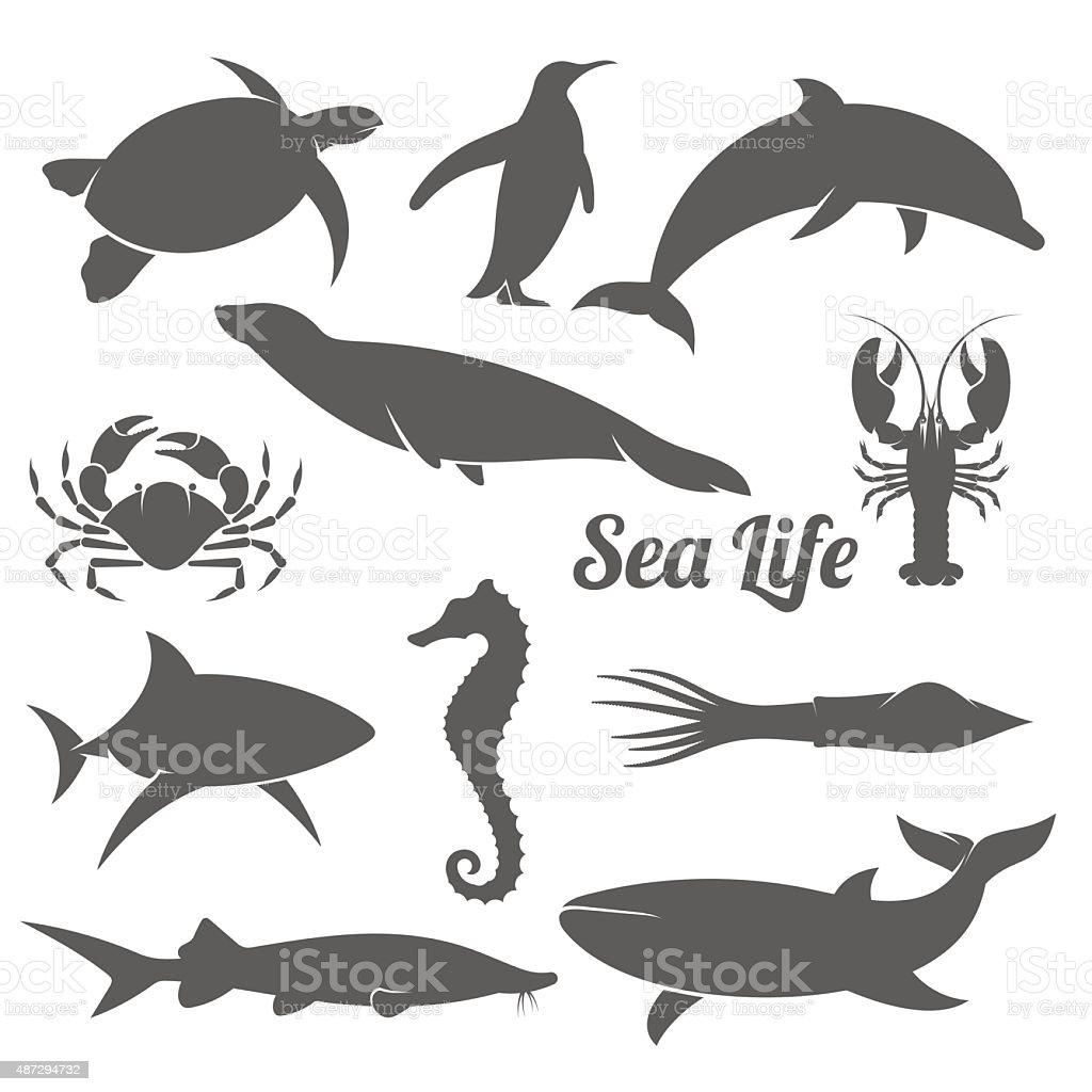 Minimal sea animals silhouette vector illustration vector art illustration