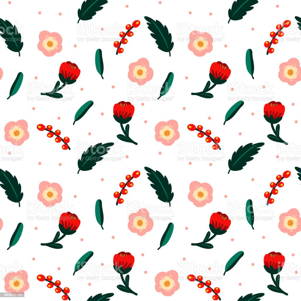 Minimal Seamless Pattern With Flowers Floral Decoration Template For Paper Textile Handmade