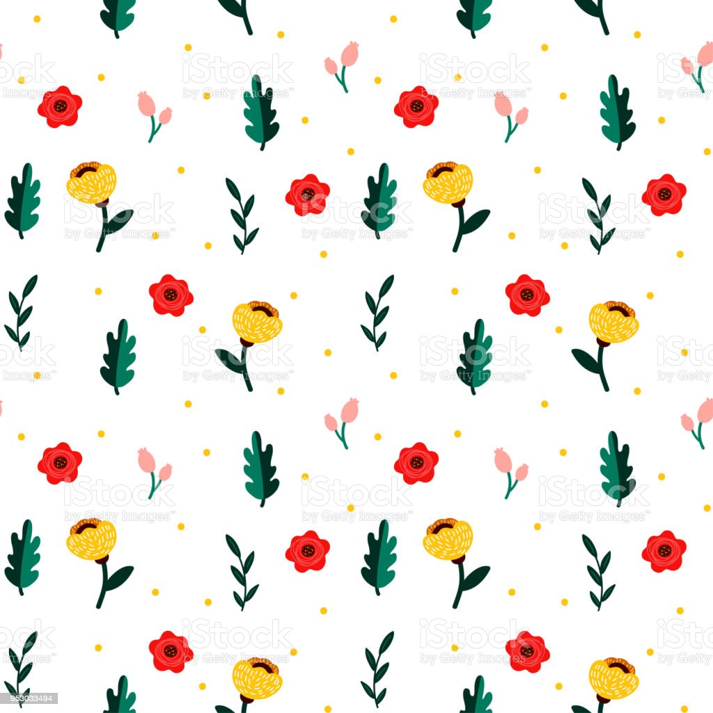 Minimal Seamless Pattern With Flowers Floral Decoration Template For