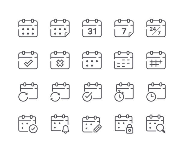 minimal set of calendar and schedule line icons - repetition stock illustrations