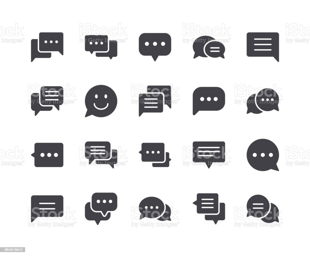 Minimal Set of Chat Bubble Glyph Icons royalty-free minimal set of chat bubble glyph icons stock vector art & more images of balloon