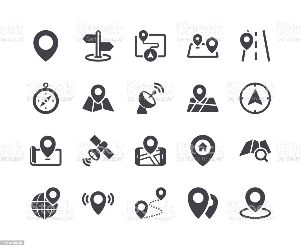 Minimal Set of Map Pin Glyph Icons royalty-free minimal set of map pin glyph icons stock vector art & more images of flat