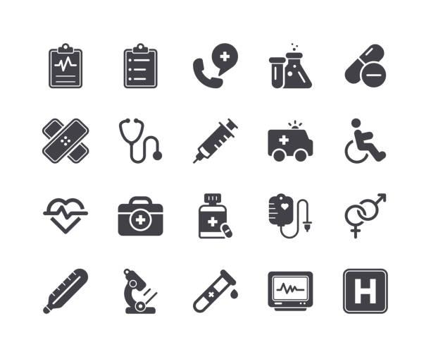 ilustraciones, imágenes clip art, dibujos animados e iconos de stock de mínimo conjunto de iconos de glifo médicos y de salud - sólido