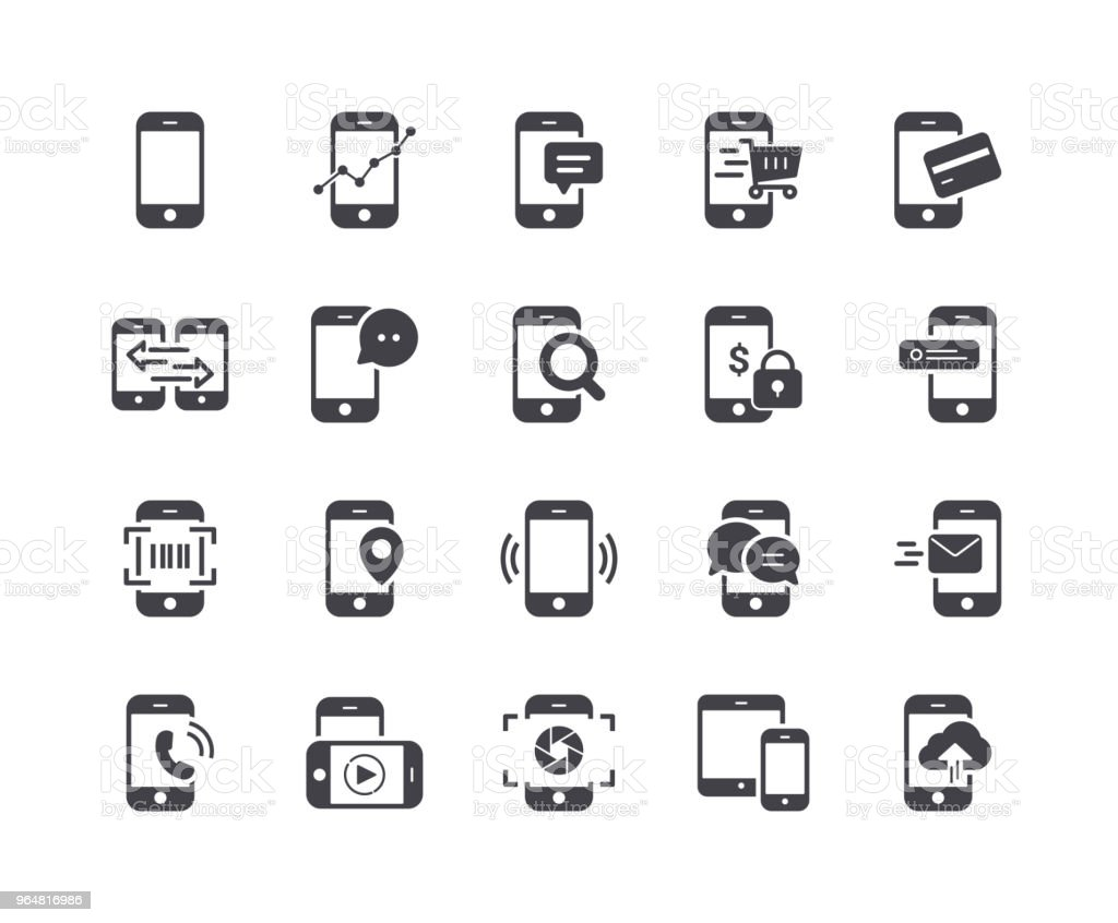 Minimal Set of Mobile Phone Glyph Icons royalty-free minimal set of mobile phone glyph icons stock vector art & more images of cell