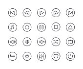 Minimal Set of Music Player Line Icons. Editable Stroke. 48x48 Pixel Perfect.