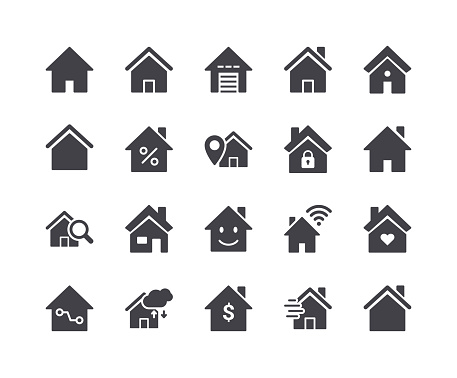 Minimal Set of Smart Home Glyph Icons