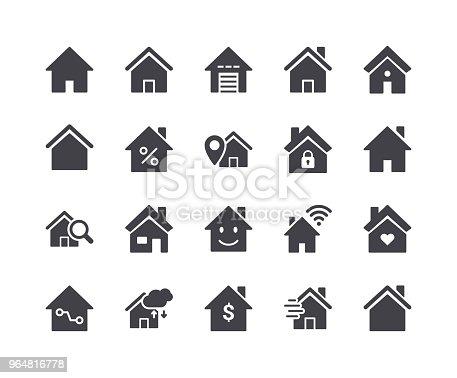 istock Minimal Set of Smart Home Glyph Icons 964816778