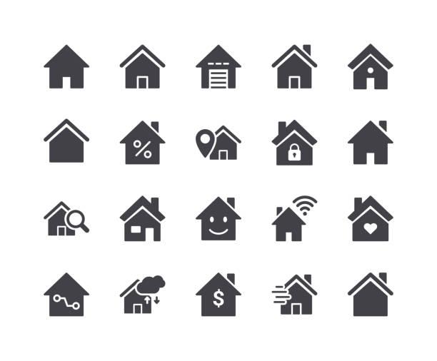 ilustraciones, imágenes clip art, dibujos animados e iconos de stock de mínimo conjunto de iconos de glifo casero elegante - sólido