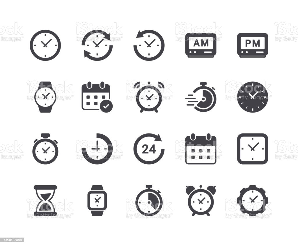Minimal Set of Time and Clock Glyph Icons Minimal Set of Time and Clock Glyph Icons Alarm stock vector