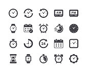 istock Minimal Set of Time and Clock Glyph Icons 964817056