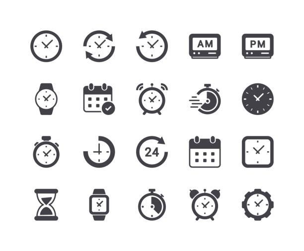 minimalny zestaw ikon glifów i zegarów - czas stock illustrations