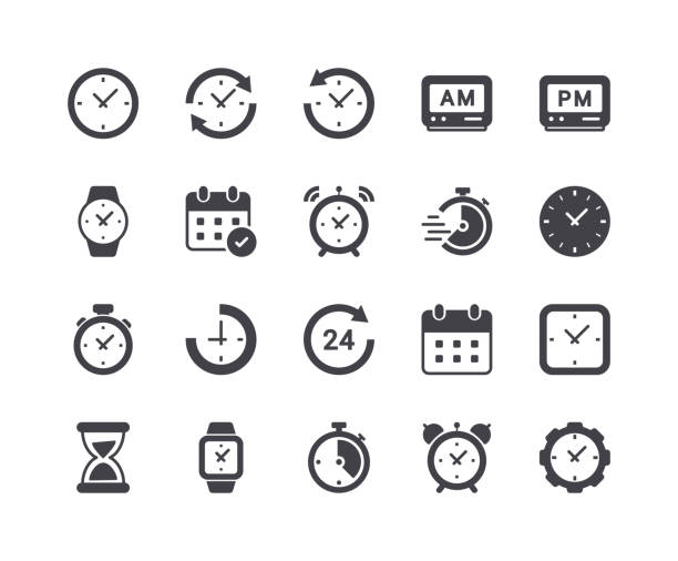 minimal set of time and clock glyph icons - icons stock illustrations