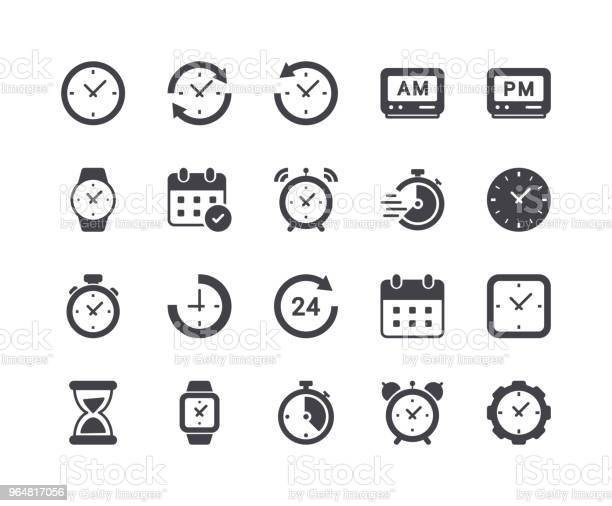 Minimal Set Of Time And Clock Glyph Icons Stock Illustration - Download Image Now