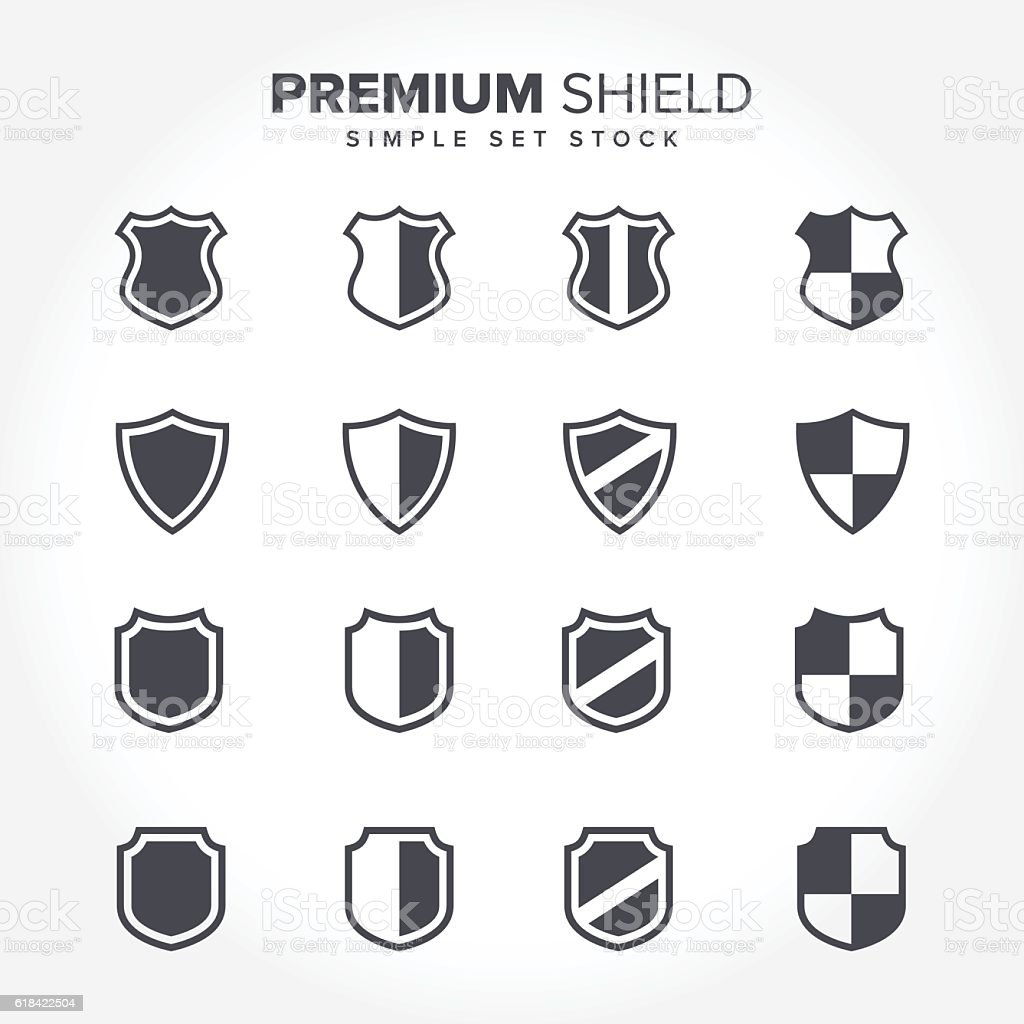 Minimal Shield Icon Collections vector art illustration