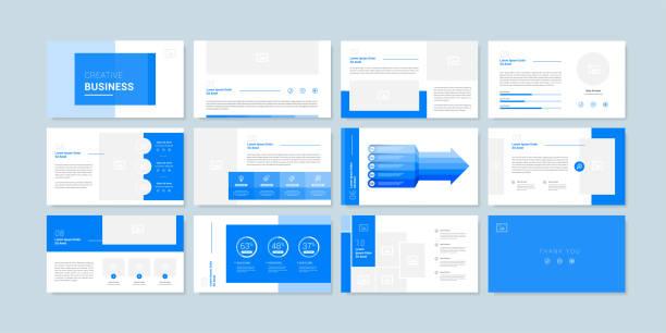 ilustrações, clipart, desenhos animados e ícones de modelo de fundo de apresentação de slides mínimo. modelo de apresentação de negócios - templates