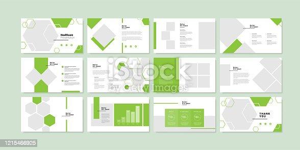istock Minimal slides presentation background template. healthcare presentation template 1215466925