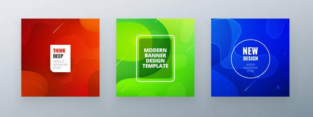 최소 사각 배너 디자인입니다. 다채로운 하프톤 그라데이션. 웹에 대 한 배경 현대 템플릿 디자인. 멋진 그라데이션. 미래 기하학적 패턴입니다. - future stock illustrations