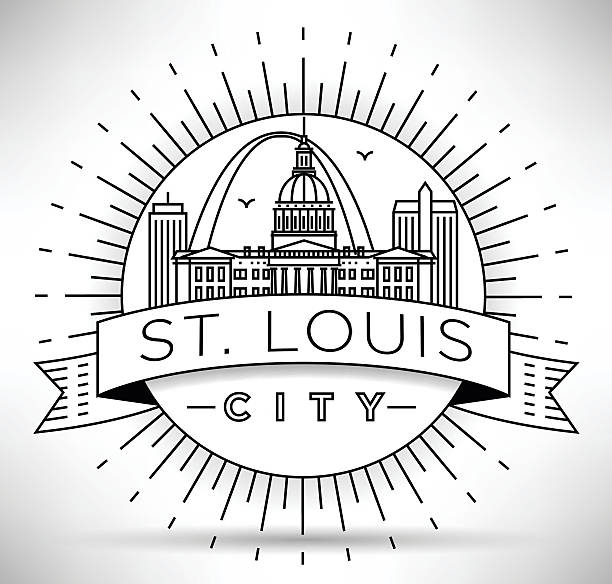 minimal st. louis city linear skyline with typographic design - st louis stock illustrations