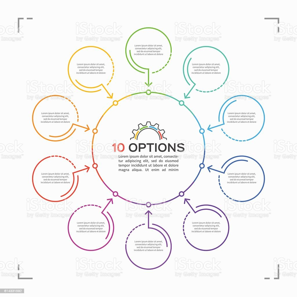 Minimal style circle infographic template with 10 options vector art illustration