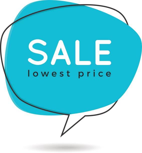 Balão liso de estilo minimalista em forma de banner, etiqueta de preço, vara - ilustração de arte em vetor