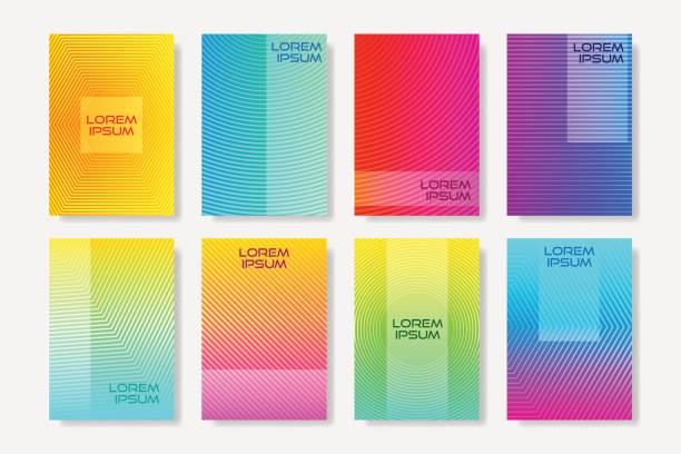 Volantes de estilo minimalista con el patrón de semitono lineal.  Plantillas de diseño colorido de la cubierta. - ilustración de arte vectorial