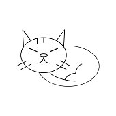 Minimal style sleeping cat icon illustration