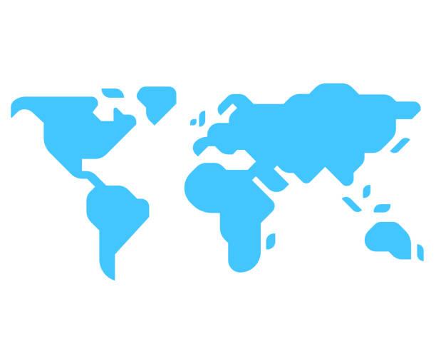 illustrazioni stock, clip art, cartoni animati e icone di tendenza di mappa del mondo in stile minimale - semplicità