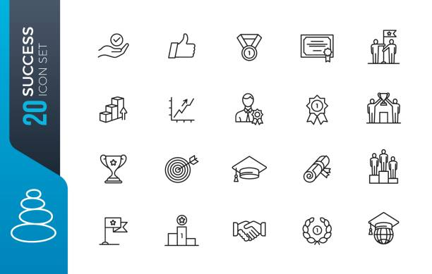 minimal success icon set Sussess, achievment elements - minimal thin line set. Outline icons collection. Simple vector illustration. champaign illinois stock illustrations