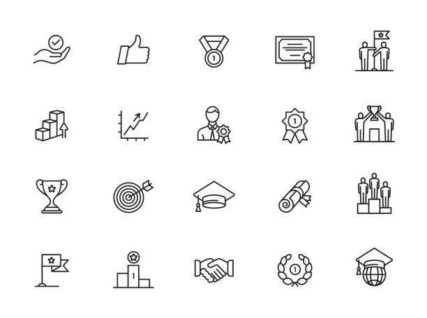 minimal success line icon set Sussess, achievment elements - minimal thin line set. Outline icons collection. Simple vector illustration. champaign illinois stock illustrations