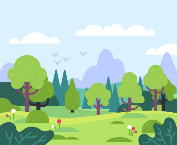 最小的夏季景觀。自然公園和森林植物,樹葉和鮮花。山景為橫幅,賀卡平面向量背景 - 休閒活動 主題 幅插畫檔、美工圖案、卡通及圖標