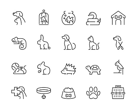Minimal thin line pet icon set - Editable stroke