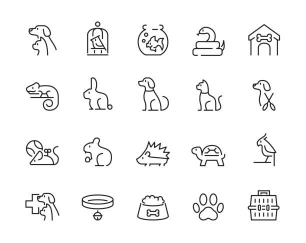 ilustraciones, imágenes clip art, dibujos animados e iconos de stock de conjunto mínimo de iconos de mascota de línea delgada - trazo editable - mascota