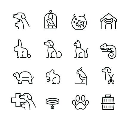 최소한의 얇은 선 애완 동물 아이콘 세트 강아지-어린 동물에 대한 스톡 벡터 아트 및 기타 이미지