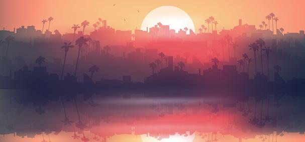 Minimal tropical city skyline near sea with palm tree at sunset