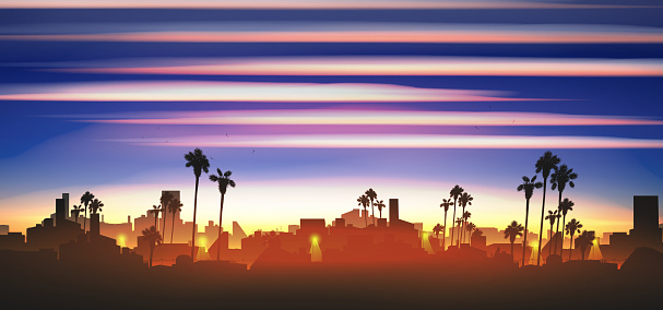 Minimal tropical city skyline with palm tree at sunset